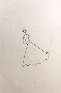 Beim Blogschreiben setzt sich Dina* ganz ruhig neben mich und in meinem Skizzenbuch entsteht: Eine Prinzessin
